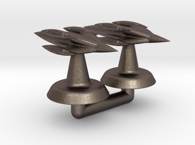 Uriel Class Starship - 1:20000 in Polished Bronzed-Silver Steel