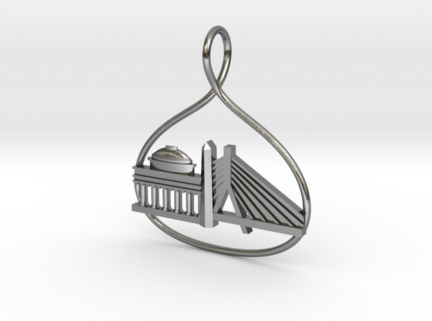 Boston Cityscape Skyline Pendant in Polished Silver