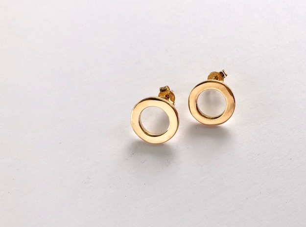 Billabong Flat Stud Earrings by V DESIGN LAB in 18k Gold Plated Brass