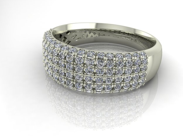 Pave dress ring NO STONES SUPPLIED in Fine Detail Polished Silver