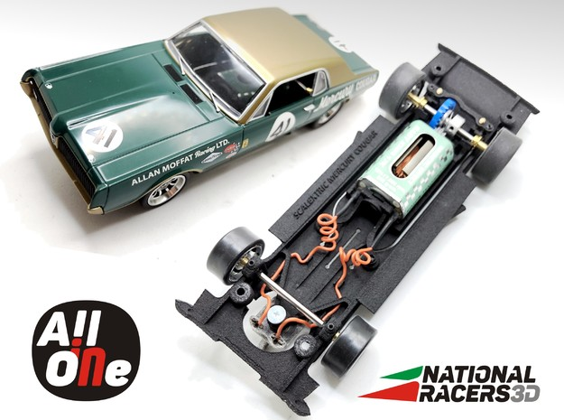 Chassis - Scalextric Mercury Cougar (In-AiO) in Black PA12