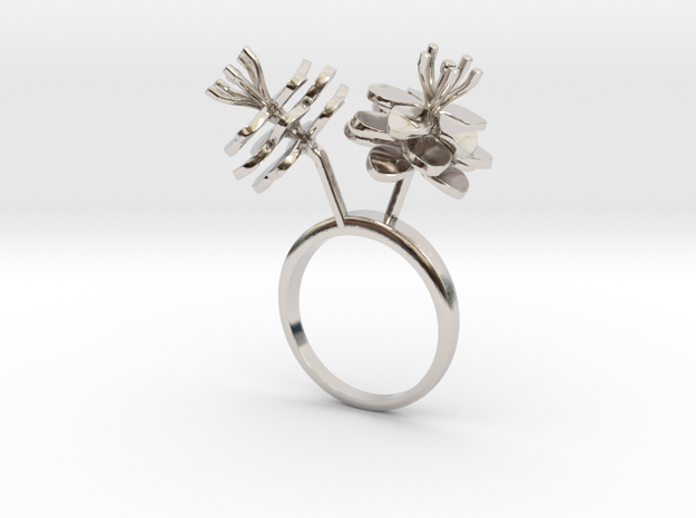 Anemone ring with two small flowers I L in Rhodium Plated Brass: 7.25 / 54.625