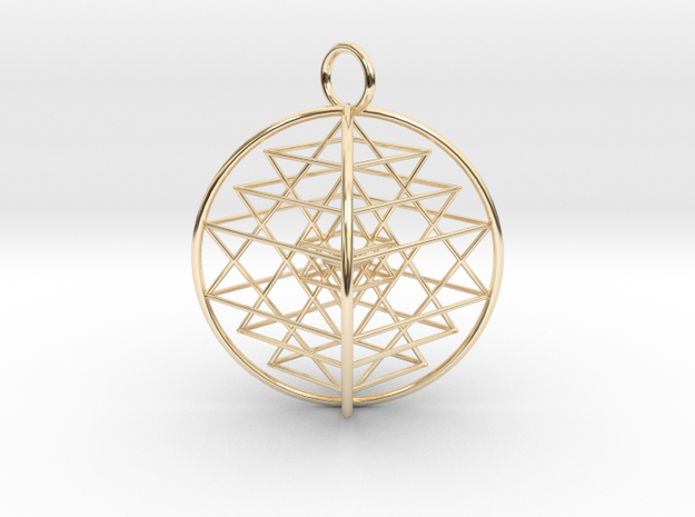 "3D Sri Yantra 4 Sided Symmetrical 2.2"" in 14K Yellow Gold"
