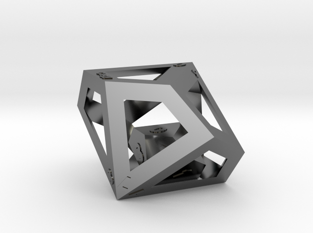 D100 Dice - D10 in a D10 in Fine Detail Polished Silver