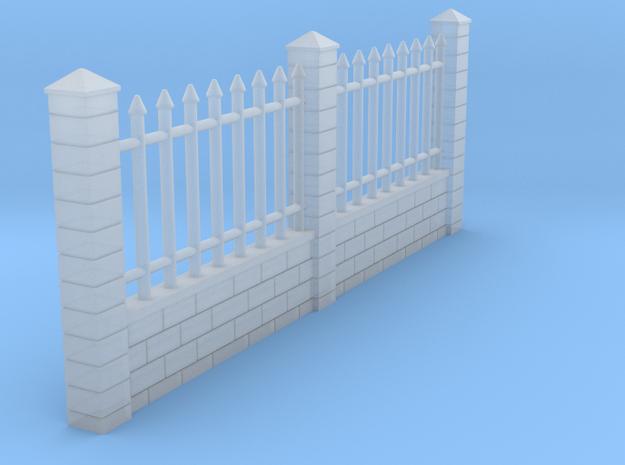 Murs avec grille 80 mm long HO in Smooth Fine Detail Plastic: 1:87 - HO