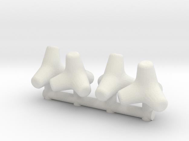 Concrete Tetrapod (x4) 1/64 in White Natural Versatile Plastic