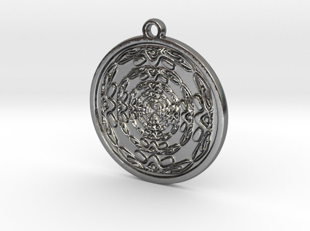 Abstract circle pendant in Polished Silver