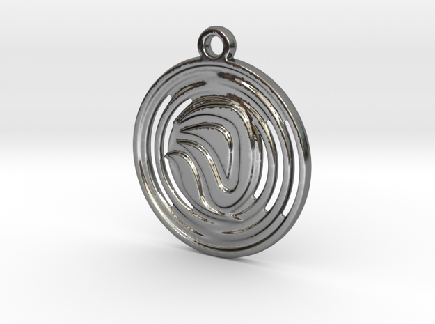 Abstract Pendant in Fine Detail Polished Silver