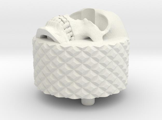 Skull BackCap Medium Length Emek/Etha2/MG100  in White Natural Versatile Plastic