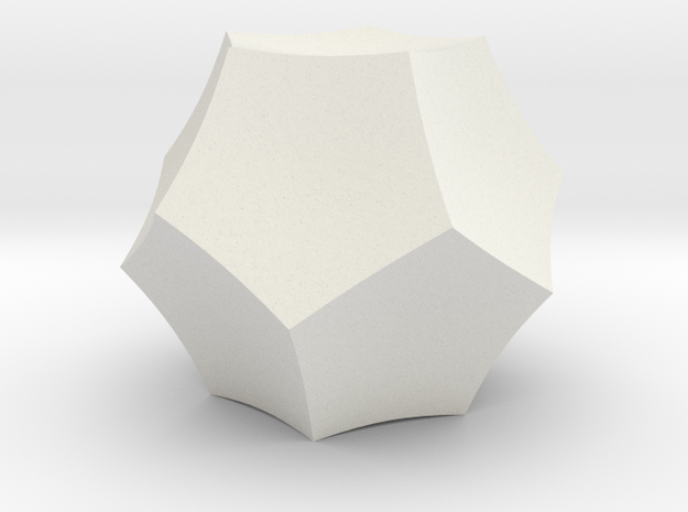 Hyperbolic Dodecahedron in White Natural Versatile Plastic
