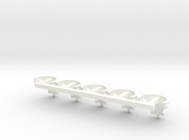 5 x Periwig (part under Hat) in White Processed Versatile Plastic