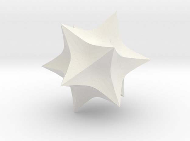 Hyperbolic Icosahedron in White Natural Versatile Plastic