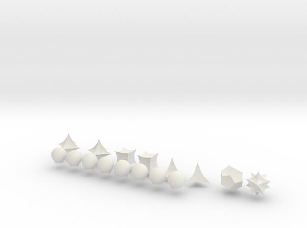Hyperbolic Chess Set (one side) in White Natural Versatile Plastic