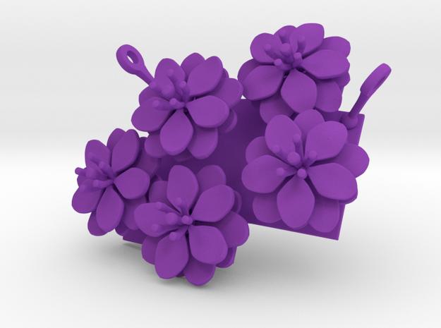 Anemone pendant with five large flowers in Purple Processed Versatile Plastic