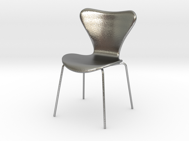Fritz Hansen Series 7 Chair - 6.8cm tall in Natural Silver