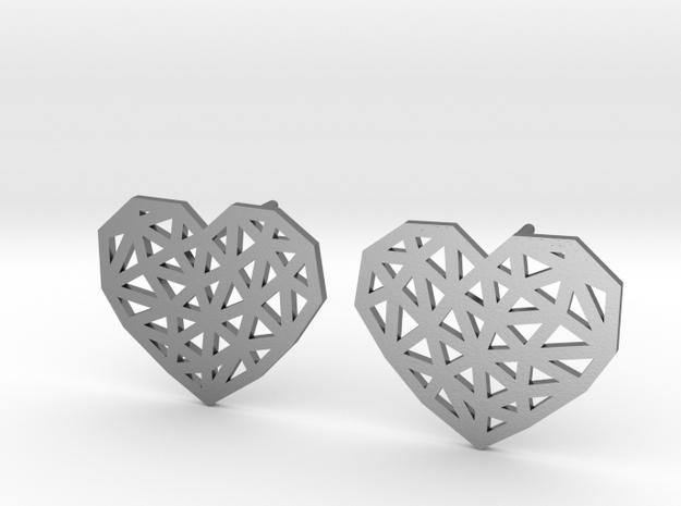 Geometric Heart Stud Earrings in Polished Silver
