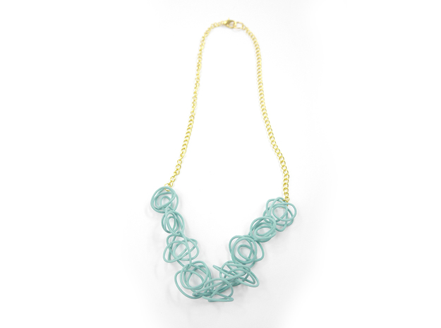 Sprouted Spirals Necklace (Chain) 3d printed Custom Dyed Color (Teal)