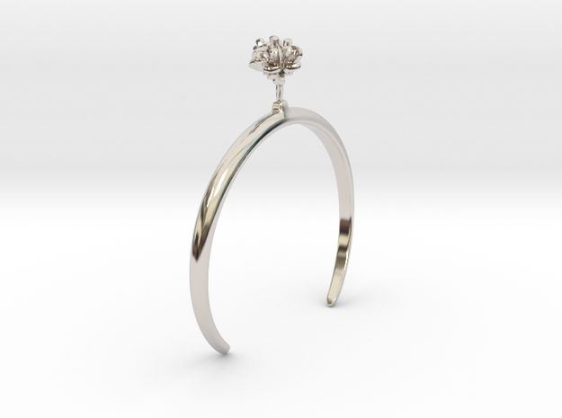 Cherry bracelet with two small flowers L in Rhodium Plated Brass: Medium