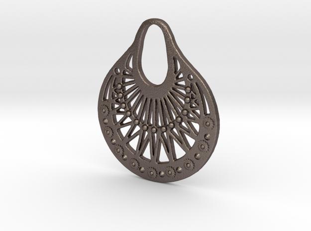 Ornamental Pendant / Earring in Polished Bronzed Silver Steel