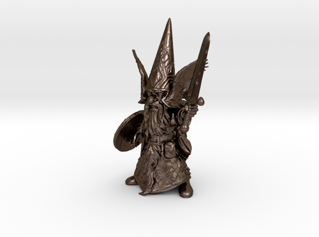 Guardin'Gnome with Sword in Polished Bronze Steel