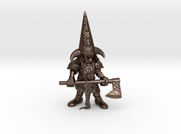 """6"""" Guardin'Gnome with Axe in Polished Bronze Steel"""