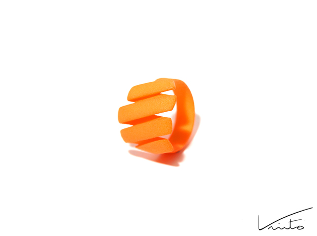 Curl ring 4 parallel lines // US8 - LARGE 3d printed Orange Strong & Flexible