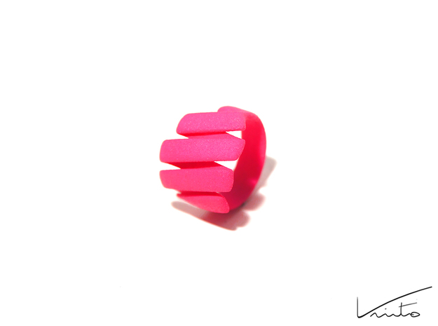 Curl ring 4 parallel lines // US8 - LARGE 3d printed Pink Strong & Flexible