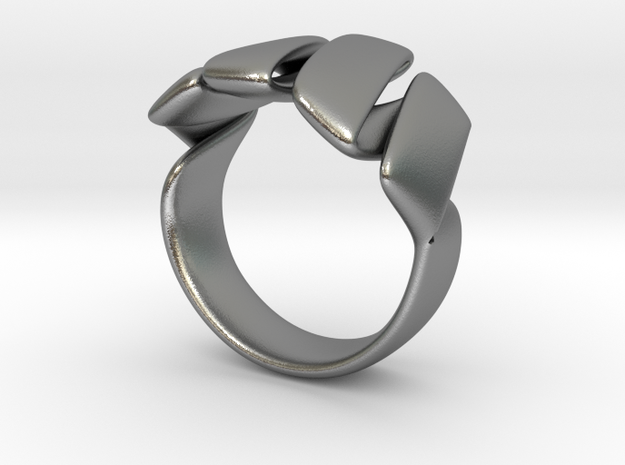 Curl ring 4 parallel lines // US8 - LARGE 3d printed