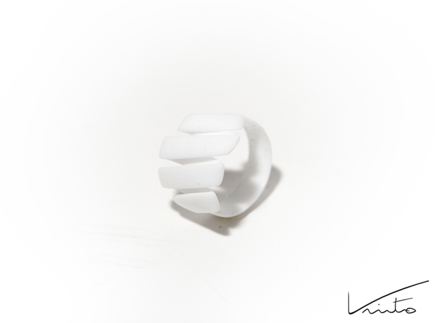 Curl ring 4 parallel lines // US8 - LARGE 3d printed White  Strong & Flexible