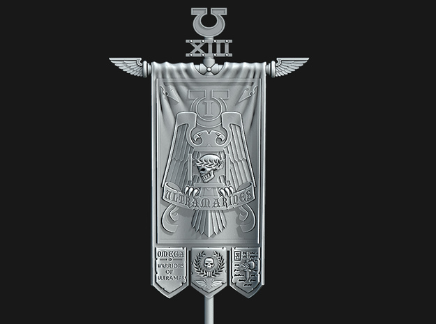 UM 1st Company Banner - Warriors of UMar in Smooth Fine Detail Plastic: Small