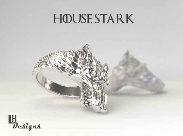Size 12 Direwolf Ring 3d printed