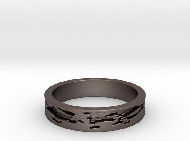 Shibori (Size 6) in Polished Bronzed Silver Steel