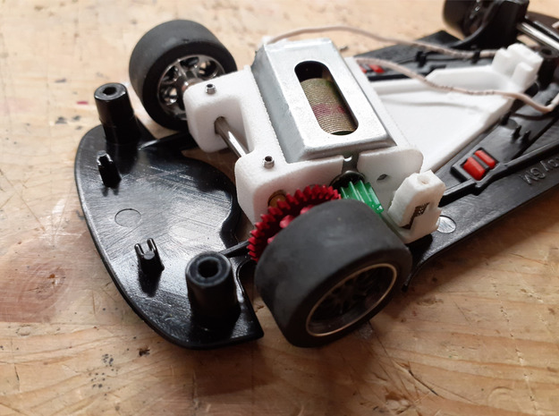 Full adjustable motor pod for NSR Slotcars in White Natural Versatile Plastic