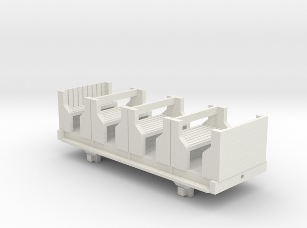 OO9 Skarloey / Talyllyn Open Coach (Long) in White Natural Versatile Plastic