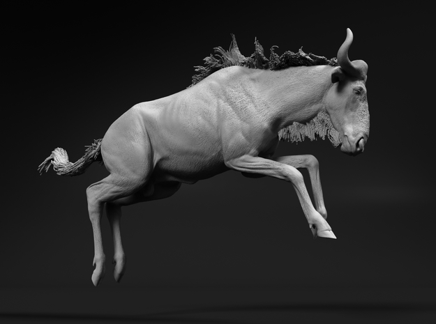 Blue Wildebeest 1:35 Leaping Male in White Natural Versatile Plastic