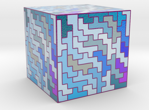 cube puzzle in Glossy Full Color Sandstone