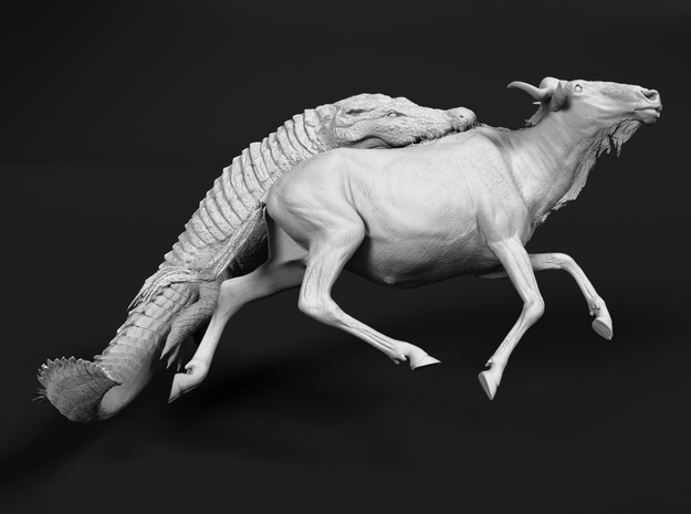 Blue Wildebeest 1:35 Attacked by Nile Crocodile 3 in White Natural Versatile Plastic