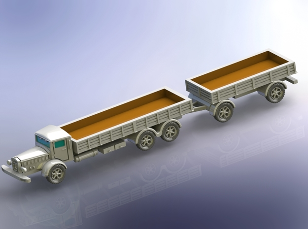 Mercedes L10000 Truck with Trailer 1/160 in Smooth Fine Detail Plastic