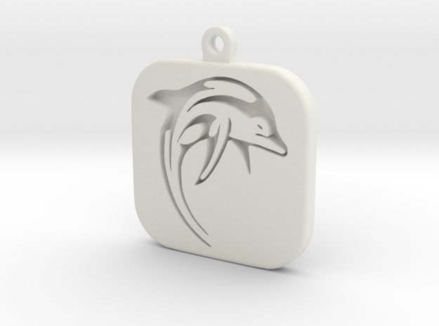 Dolphin Keychain in White Natural Versatile Plastic