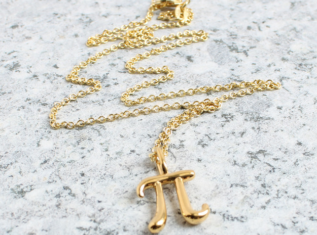 Pi Pendant - Math Jewelry in 14k Gold Plated Brass