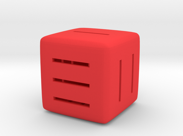 Line Dice in Red Processed Versatile Plastic