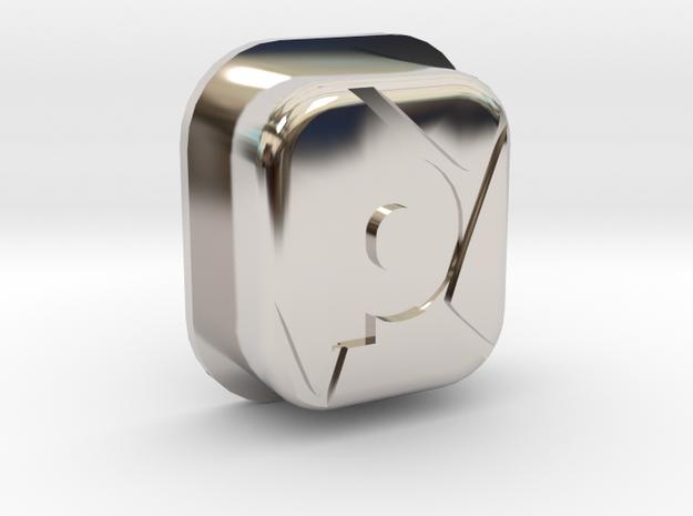 SHATTR3D Mech Squonk Button in Rhodium Plated Brass