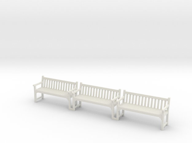 Park Bench Scale 1:55 Set in White Natural Versatile Plastic