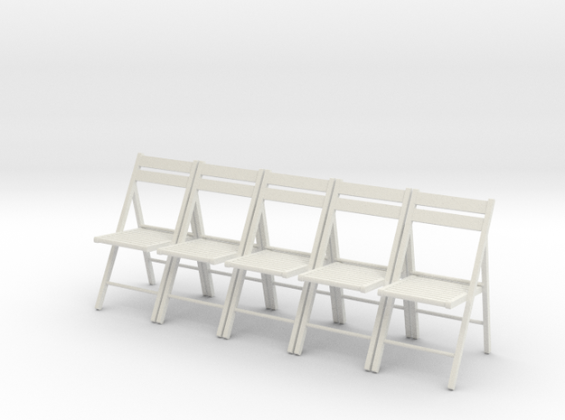 5 1:24 Wooden Folding Chairs in White Natural Versatile Plastic
