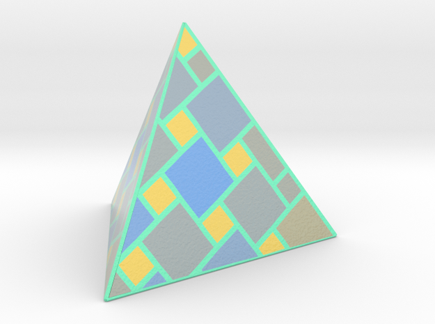 a cubic pyramide in Glossy Full Color Sandstone