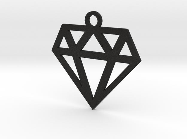 Diamond Lines Necklace Pendant in Black Acrylic