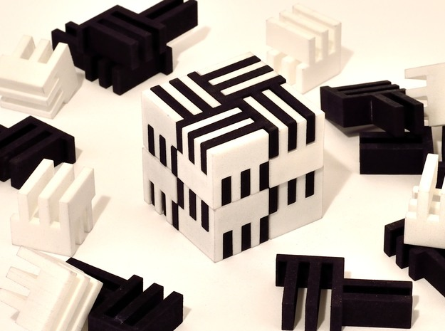Puzzle Cube, Positive, (white) pieces in White Natural Versatile Plastic