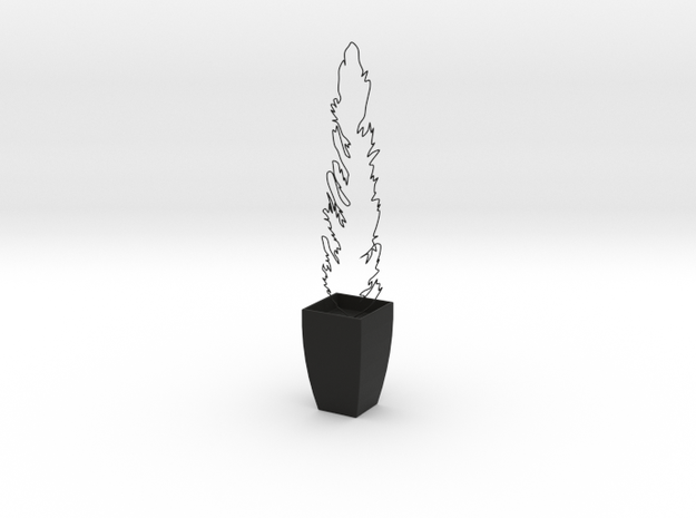 Miniature Potted Plant in Black Natural Versatile Plastic