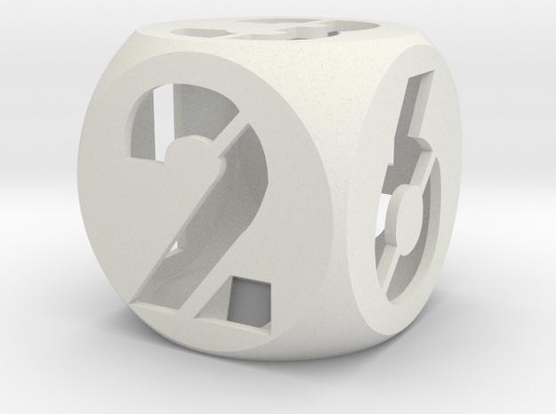 Stencil Number Dice 1in in White Natural Versatile Plastic