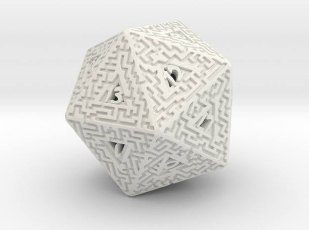 20 Sided Maze Die in White Natural Versatile Plastic